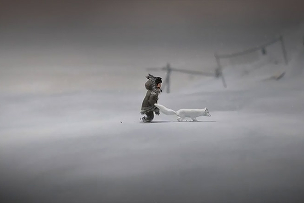 a game with a person walking with dog in a snow storm