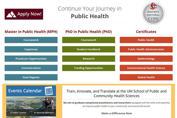 part of School of Public and Community Health Sciences home page